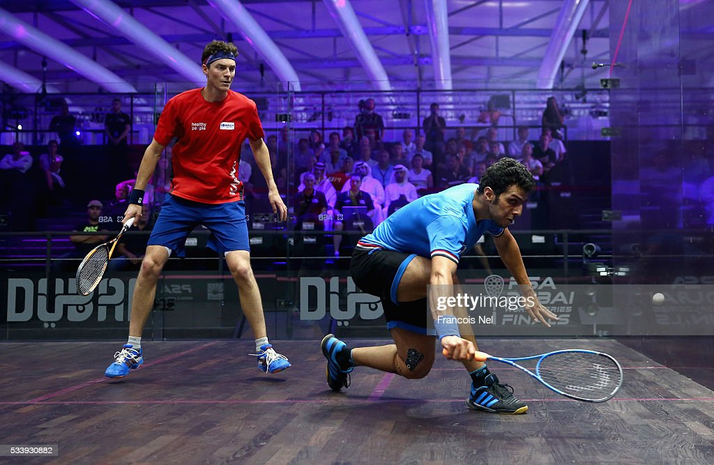 Omar Mosaad of Egypt competes against Cameron Pilley of Australia during day one of the PSA Dubai World Series Finals 2016 at Burj Park on May 24, 2016 in Dubai, United Arab Emirates.