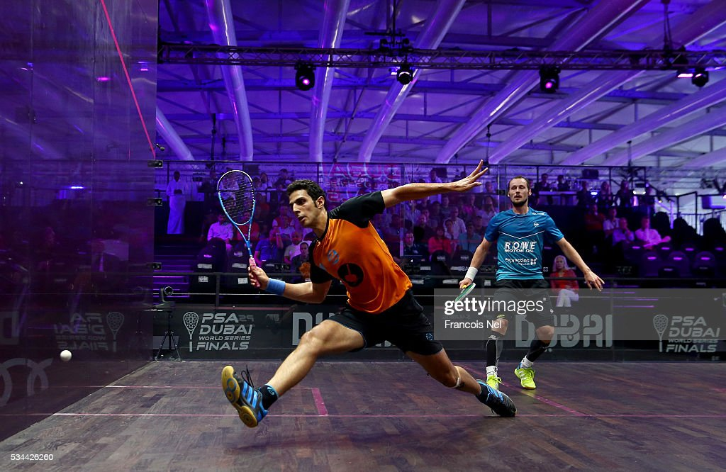 Omar Mosaad of Egypt competes against Gregory Gaultier of France during day three of the PSA Dubai World Series Finals 2016 at Burj Park on May 26, 2016 in Dubai, United Arab Emirates.