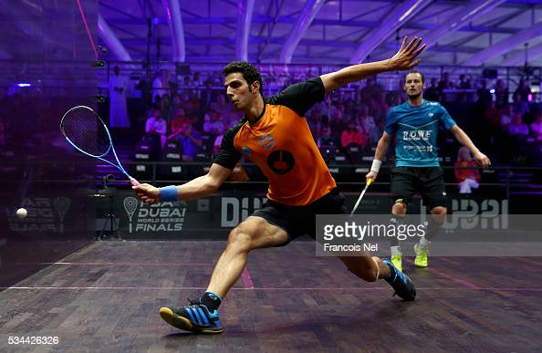 Omar Mosaad of Egypt competes against Gregory Gaultier of France during day three of the PSA Dubai World Series Finals 2016 at Burj Park on May 26...
