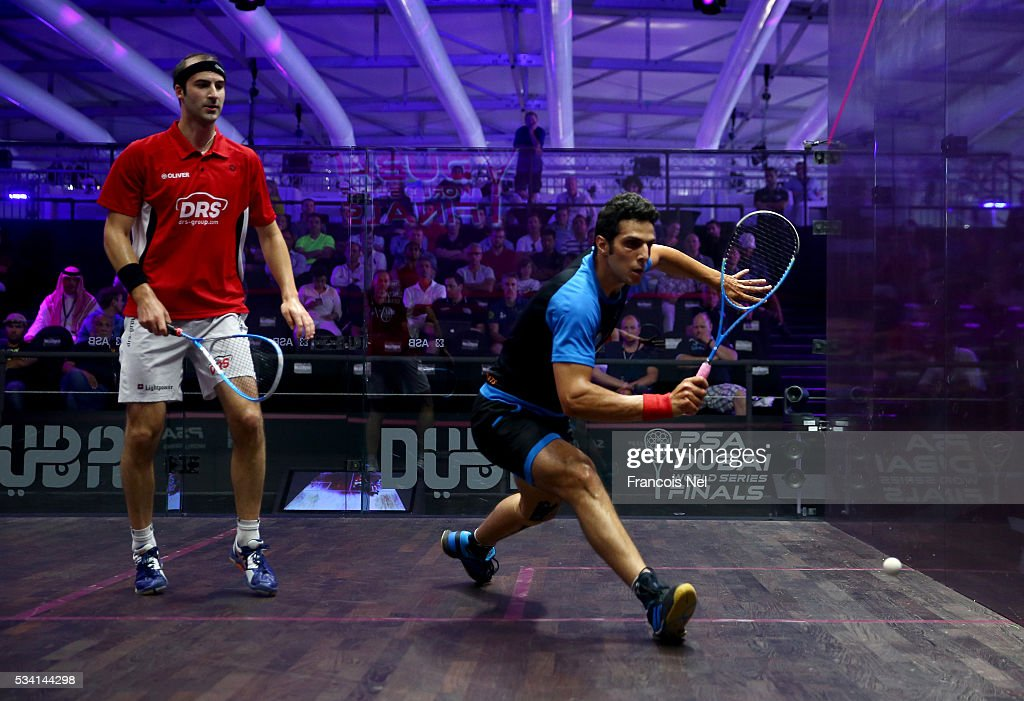 Omar Mosaad of Egypt competes against Simon Rosner of Germany during day two of the PSA Dubai World Series Finals 2016 at Burj Park on May 25, 2016 in Dubai, United Arab Emirates.