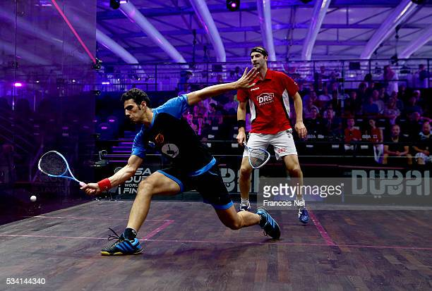 Omar Mosaad of Egypt competes against Simon Rosner of Germany during day two of the PSA Dubai World Series Finals 2016 at Burj Park on May 25 2016 in...