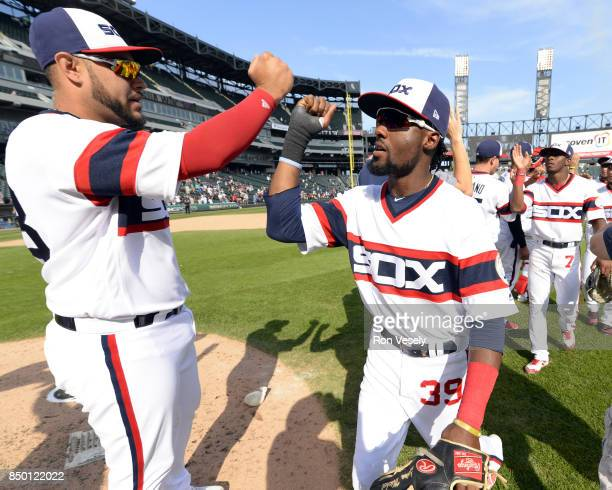 Omar Narvaez and Alen Hanson of the Chicago White Sox celebrate after the game against the Tampa Bay Rays on September 3 2017 at Guaranteed Rate...