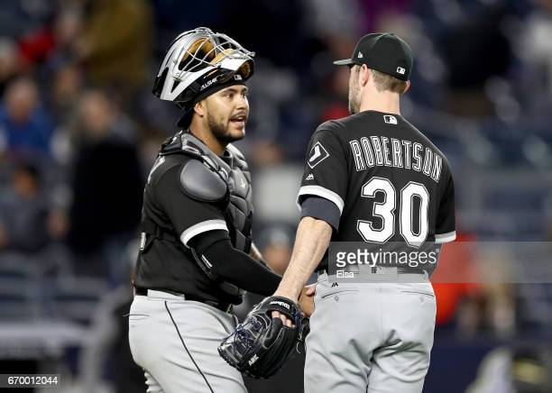 Omar Narvaez and David Robertson of the Chicago White Sox celebrate the 41 win over the New York Yankees on April 18 2017 at Yankee Stadium in the...