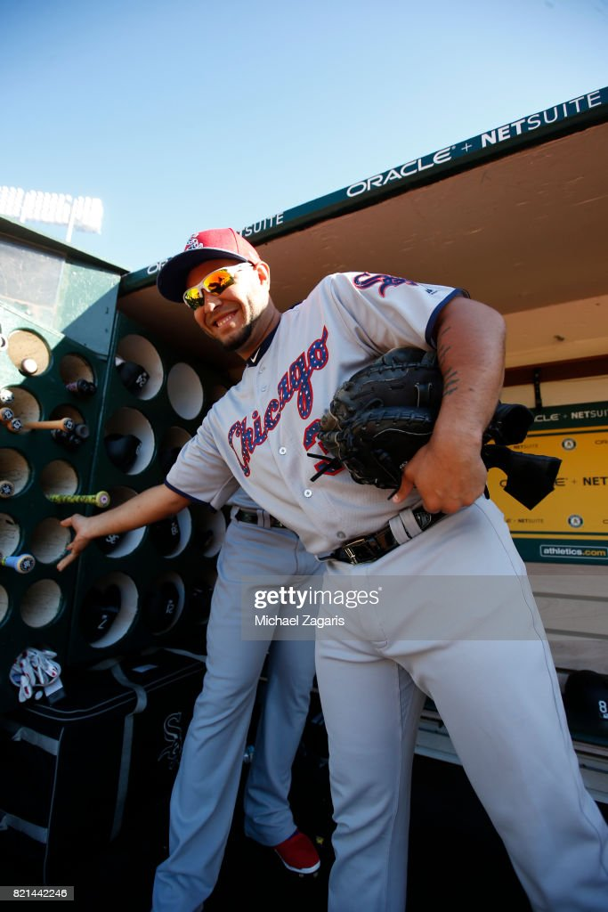 Omar Narvaez #38 of the Chicago White Sox stands in the dugout prior to the game against the Oakland Athletics at the Oakland Alameda Coliseum on July 3, 2017 in Oakland, California. The White Sox defeated the Athletics 7-2.