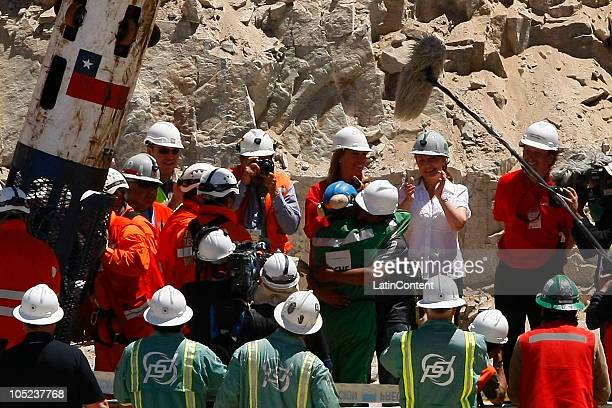 Omar Reygadas reacts after arrive in the surface during the rescue operation of 33 miners trapped 700 meters underground for two months in the San...
