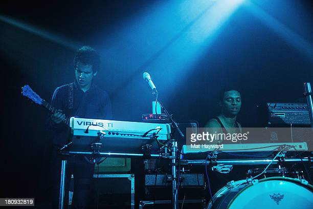 Omar Rodriguez Lopez and Deantoni Parks of the Bosnian Rainbows perform on stage at the Crocodile on September 17 2013 in Seattle Washington