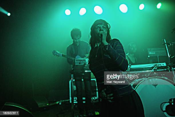 Omar Rodriguez Lopez and Teri Gender Bender of the Bosnian Rainbows perform on stage at the Crocodile on September 17 2013 in Seattle Washington