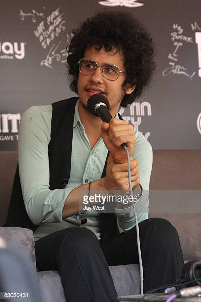 Omar Rodriguez Lopez of The Mars Volta interviews backstage on Day One of Austin City Limits Festival held at Zilker Park on September 26 2008 in...