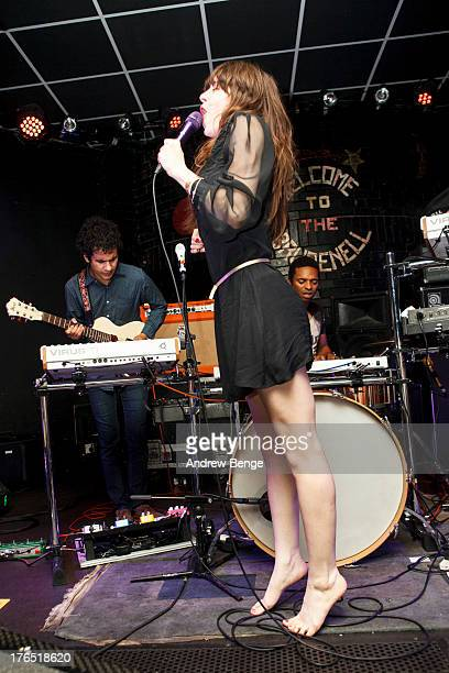 Omar Rodriguez Lopez Teri Gender Bender and Deantoni Parks of Bosnian Rainbows perform on stage at Brudenell Social Club on August 14 2013 in Leeds...