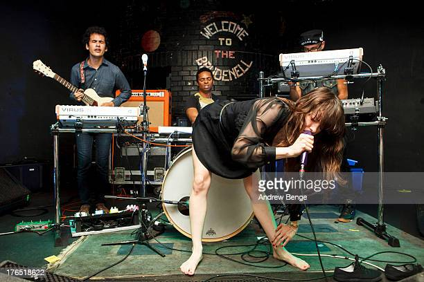 Omar Rodriguez Lopez Teri Gender Bender Nicci Kasper and Deantoni Parks of Bosnian Rainbows performs on stage at Brudenell Social Club on August 14...