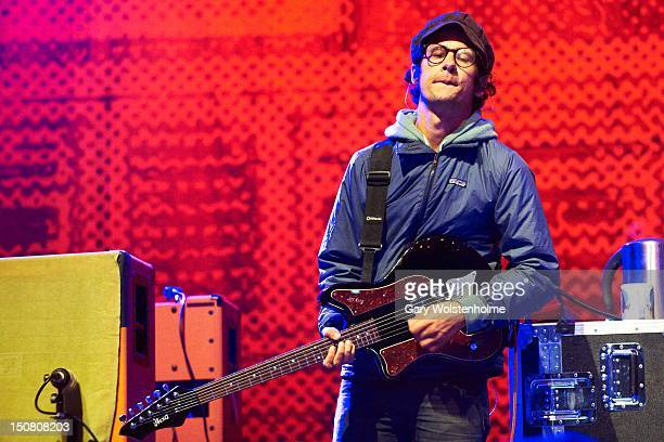 Omar RodriguezLopez of At the DriveIn performs on stage during the final day of Leeds Festival at Bramham Park on August 26 2012 in Leeds United...