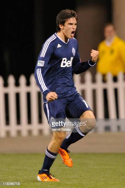 Omar Salgado of the Vancouver Whitecaps FC celebrates his second half goal against the Columbus Crew on April 30 2011 at Crew Stadium in Columbus...