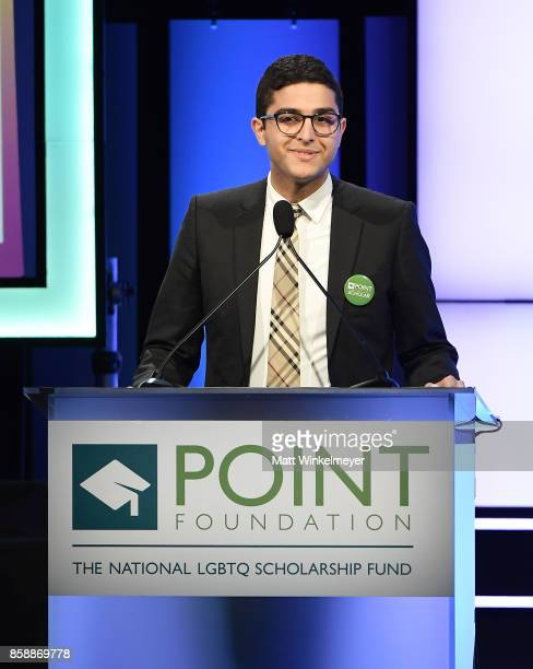Omar Salman speaks onstage at Point Honors Los Angeles 2017 benefiting Point Foundation at The Beverly Hilton Hotel on October 7 2017 in Beverly...