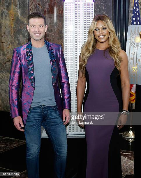 Omar Sharif Jr from Logo TV and Laverne Cox from the 'Laverne Cox Presents The T Word on MTV attend Laverne Cox Lights The Empire State Building...