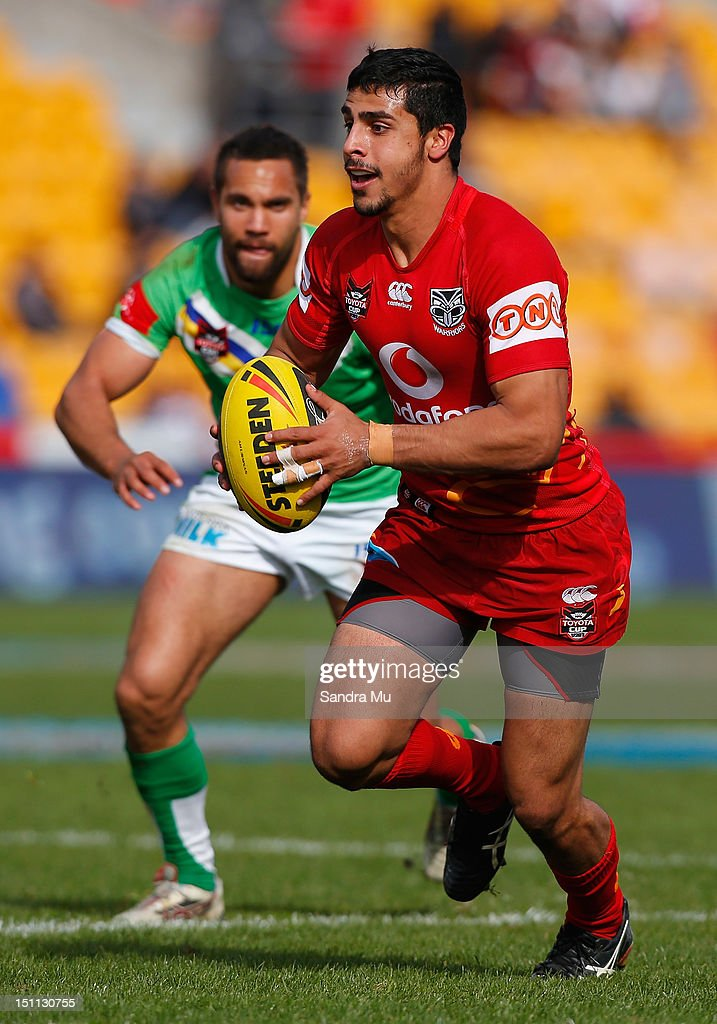 Omar Slaimankhel of the Junior Warriors in action during the Toyota Cup round 26 match between the New Zealand Warriors and the Canberra Raiders at Mt Smart Stadium on September 2, 2012 in Auckland, New Zealand.