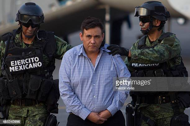 Omar Trevino alias 'El Z42' leader of criminal organisation 'Los Zetas' is presented by Mexican Army after his arrest in the Mexican State of Nuevo...