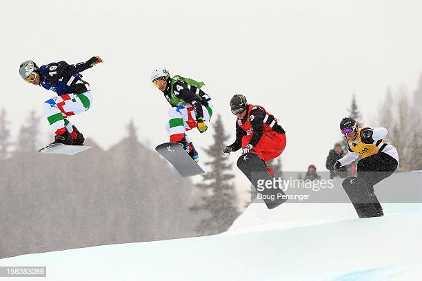 Omar Visintin of Italy Luca Matteotti of Italy Nate Holland of the USA and Jarryd Hughes of Australia compete in the eighth finals of the USANA...