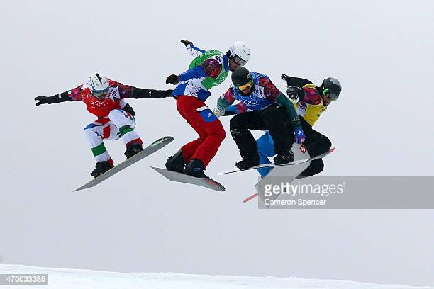 Omar Visintin of Italy Pierre Vaultier of France Jarryd Hughes of Australia Hanno Douschan of Austria and Konstantin Schad of Germany compete in the...