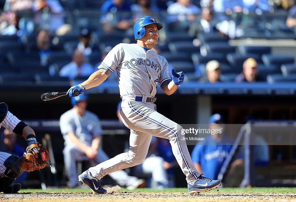 Omar Vizquel #17 of the Toronto Blue Jays connects on a eighth inning RBI double against the New York Yankees at Yankee Stadium on Wednesday, September 19 2012 in the Bronx borough of New York City. Vizquel passes Babe Ruth on the all time hits list with 2,874 into 41st place. The Yankees defeated the Blue Jays 4-2.