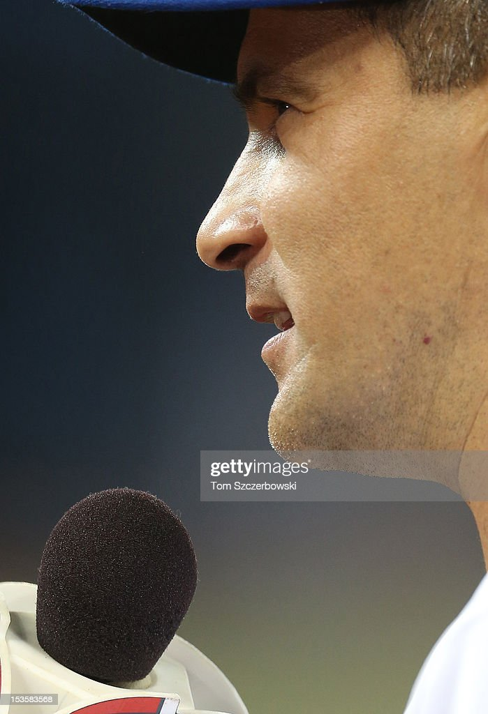 Omar Vizquel #13 of the Toronto Blue Jays gives an interview before MLB game action against the Minnesota Twins on October 3, 2012 at Rogers Centre in Toronto, Ontario, Canada.