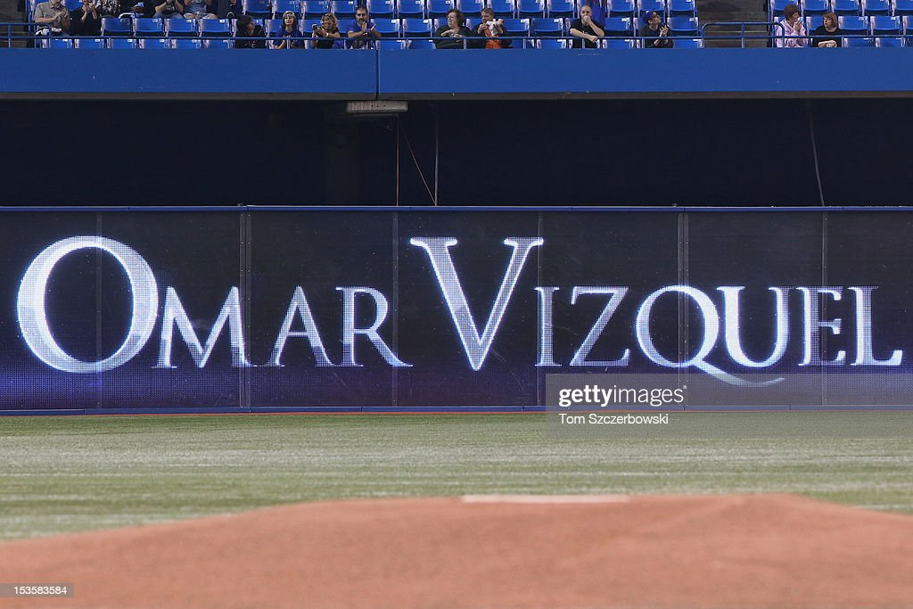 Omar Vizquel #13 of the Toronto Blue Jays is recognized before the final game of his career prior to the start of MLB game action against the Minnesota Twins on October 3, 2012 at Rogers Centre in Toronto, Ontario, Canada.