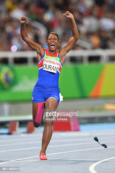 Omara Durand of Cuba celebrates after winning the women's 100m T12 final on day 2 of the Rio 2016 Paralympic Games at Olympic Stadium on September 9...