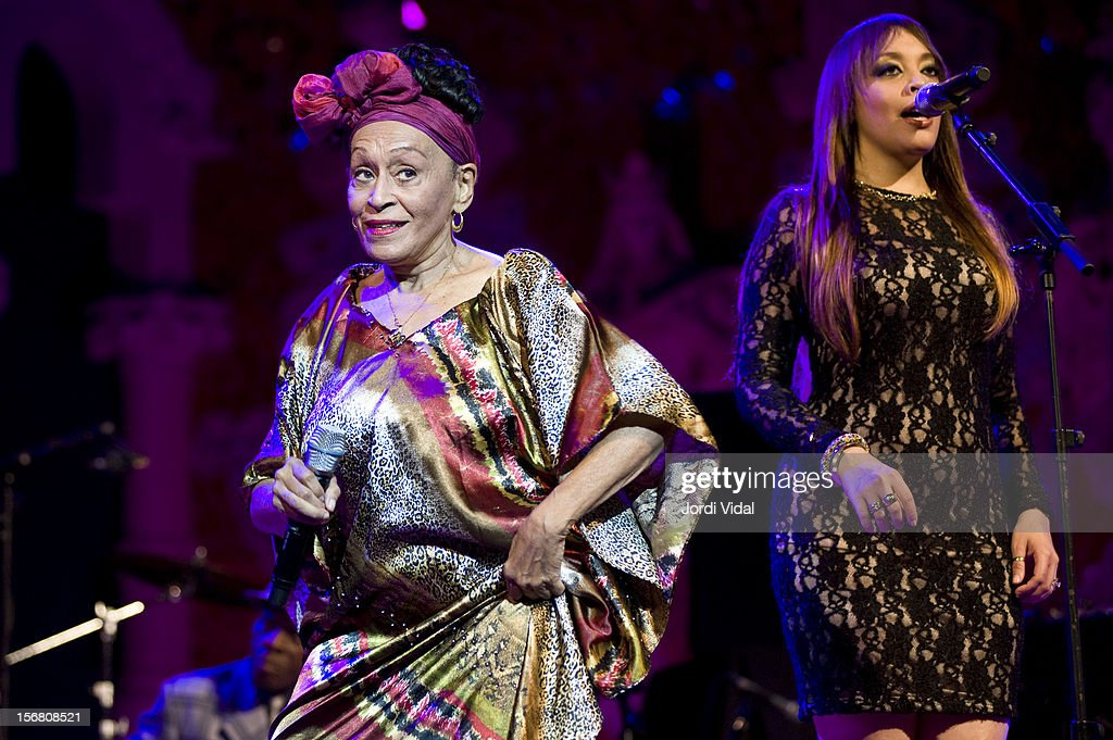 <a gi-track='captionPersonalityLinkClicked' href=/galleries/search?phrase=Omara+Portuondo&family=editorial&specificpeople=771514 ng-click='$event.stopPropagation()'>Omara Portuondo</a> and Idania Valdes perform on stage during Voll-Damm Festival Internacional de Jazz de Barcelona at Palau De La Musica on November 21, 2012 in Barcelona, Spain.