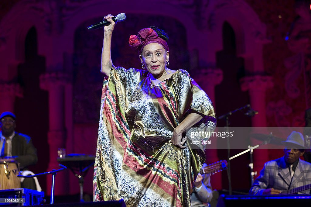 <a gi-track='captionPersonalityLinkClicked' href=/galleries/search?phrase=Omara+Portuondo&family=editorial&specificpeople=771514 ng-click='$event.stopPropagation()'>Omara Portuondo</a> performs on stage during Voll-Damm Festival Internacional de Jazz de Barcelona at Palau De La Musica on November 21, 2012 in Barcelona, Spain.
