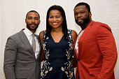 Omari Hardwick creator Courtney Kemp Agboh and Curtis '50 Cent' Jackson at the 'Power' Press Conference at the Four Seasons Hotel on May 10 2016 in...