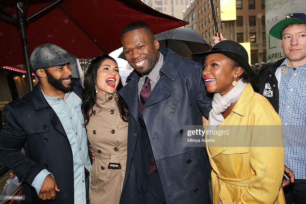 Omari Hardwick Lela Loren 50 Cent Naturi Naughton and Joseph Sikora the cast of 'Power' hand out tickets to the New York premiere on June 2 2015 in...