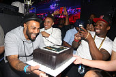 Omari Hardwick Rotimi and 50 Cent attend 50 Cent's Birthday Celebration at Orbit on July 2 2015 in New York City