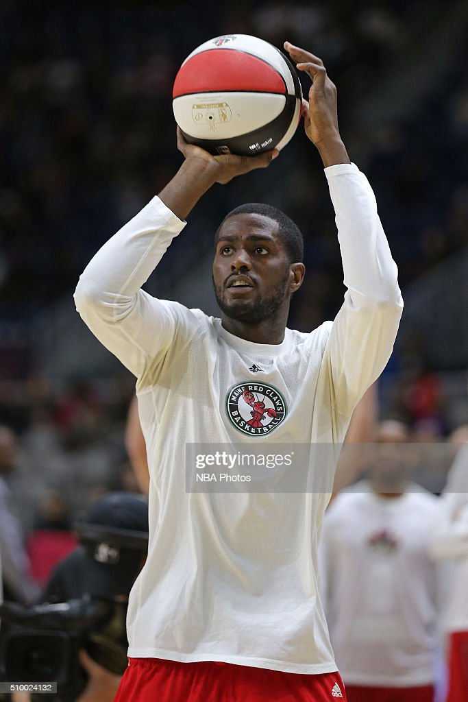Omari Johnson #24 of the Maine Red Claws participates in the NBA D-League All-Star 3 Point Contest, presented by Kumho Tire, as part of 2016 All-Star Weekend at the Ricoh Coliseum on February 13, 2016 in Toronto, Ontario, Canada.
