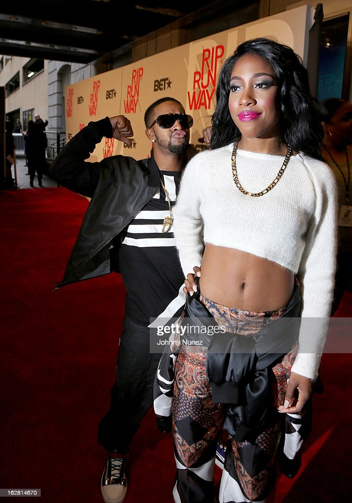 <a gi-track='captionPersonalityLinkClicked' href=/galleries/search?phrase=Omarion&family=editorial&specificpeople=203120 ng-click='$event.stopPropagation()'>Omarion</a> and Amber 'Sevyn' Streeter attend BET's Rip The Runway 2013 at Hammerstein Ballroom, on February 27, 2013, in New York City.