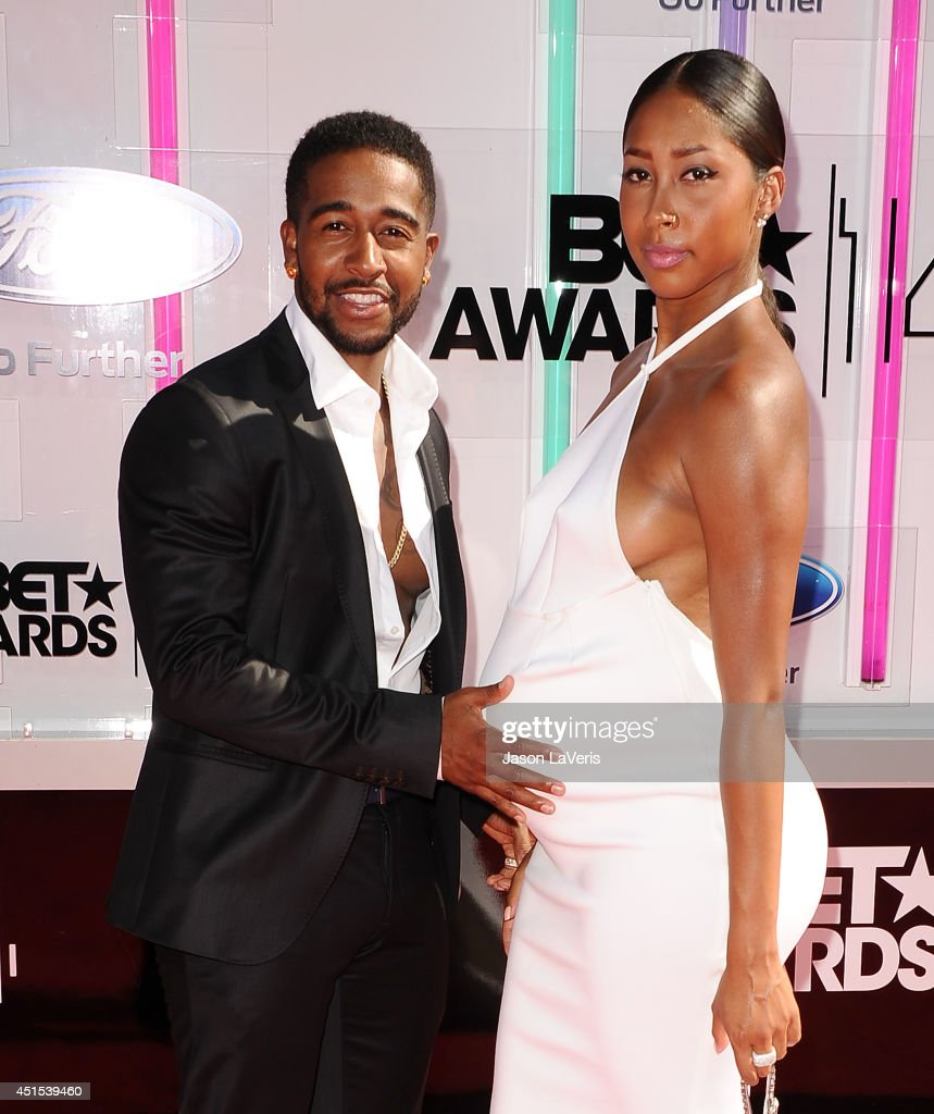 Omarion and Apryl Jones attend the 2014 BET Awards at Nokia Plaza L.A. LIVE on June 29, 2014 in Los Angeles, California.