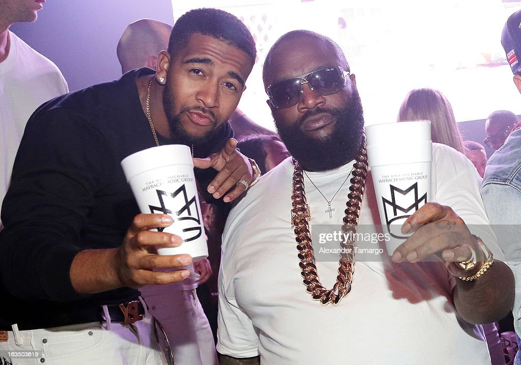 Omarion and Rick Ross are seen at the Reebok Classic white party hosted by Rick Ross at LIV nightclub at Fontainebleau Miami on March 10, 2013 in Miami Beach, Florida.