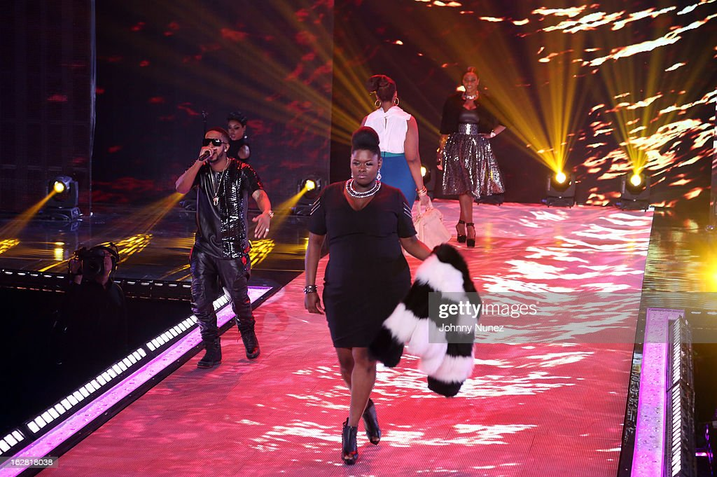 <a gi-track='captionPersonalityLinkClicked' href=/galleries/search?phrase=Omarion&family=editorial&specificpeople=203120 ng-click='$event.stopPropagation()'>Omarion</a> (L) performs during BET's Rip The Runway 2013 at Hammerstein Ballroom on February 27, 2013, in New York City.