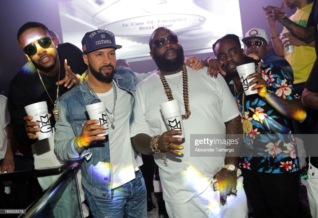 <a gi-track='captionPersonalityLinkClicked' href=/galleries/search?phrase=Omarion&family=editorial&specificpeople=203120 ng-click='$event.stopPropagation()'>Omarion</a>, Rick Ross and <a gi-track='captionPersonalityLinkClicked' href=/galleries/search?phrase=Wale+-+Rapper&family=editorial&specificpeople=8770277 ng-click='$event.stopPropagation()'>Wale</a> are seen at the Reebok Classic white party hosted by Rick Ross at LIV nightclub at Fontainebleau Miami on March 10, 2013 in Miami Beach, Florida.