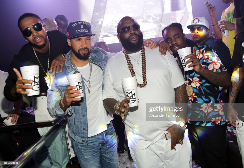 Omarion, Rick Ross and Wale are seen at the Reebok Classic white party hosted by Rick Ross at LIV nightclub at Fontainebleau Miami on March 10, 2013 in Miami Beach, Florida.
