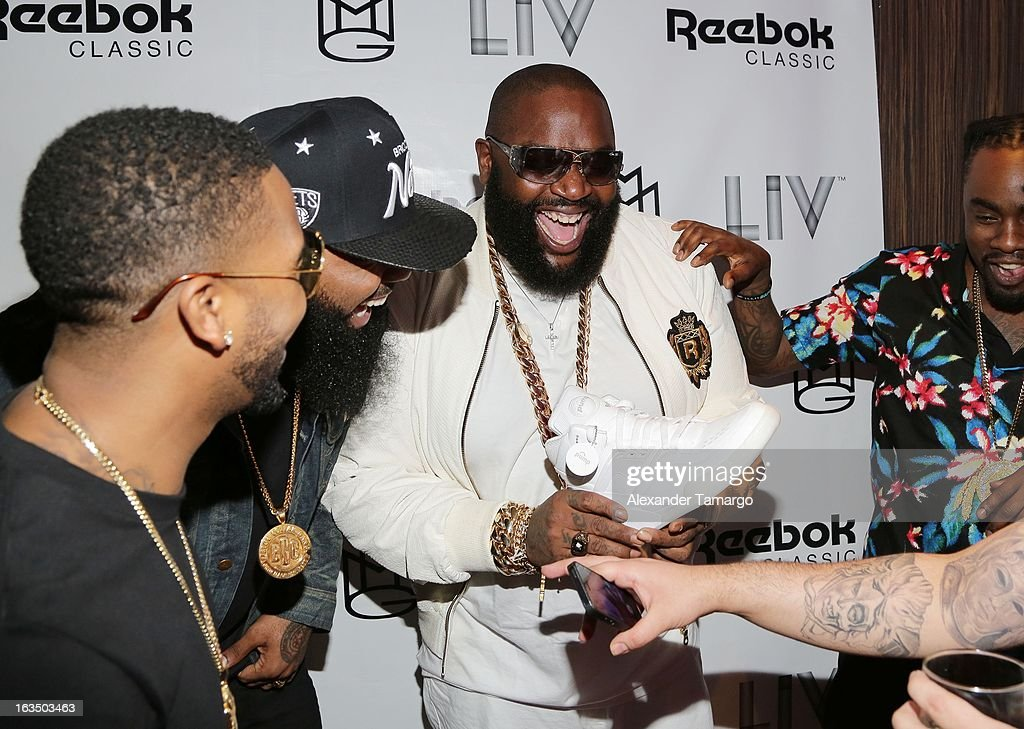 Omarion, Stally and Rick Ross arrive at the Reebok Classic white party hosted by Rick Ross at LIV nightclub at Fontainebleau Miami on March 10, 2013 in Miami Beach, Florida.