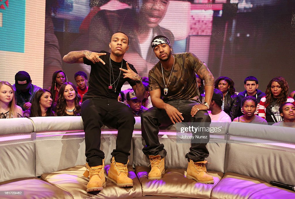 <a gi-track='captionPersonalityLinkClicked' href=/galleries/search?phrase=Omarion&family=editorial&specificpeople=203120 ng-click='$event.stopPropagation()'>Omarion</a> (r) visits BET's '106 & Park' with host <a gi-track='captionPersonalityLinkClicked' href=/galleries/search?phrase=Bow+Wow+-+Rapper&family=editorial&specificpeople=211211 ng-click='$event.stopPropagation()'>Bow Wow</a> (L) at BET Studios on February 14, 2013 in New York City.
