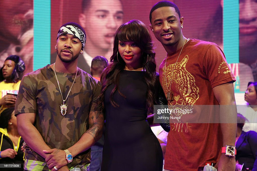 Omarion visits BET's '106 & Park' with hosts Kimberly 'Paigion' Walker and Shorty Da Prince at BET Studios on February 14, 2013 in New York City.