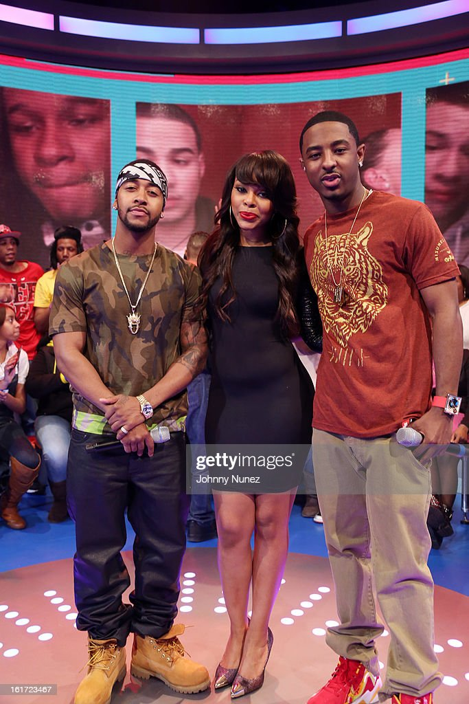 <a gi-track='captionPersonalityLinkClicked' href=/galleries/search?phrase=Omarion&family=editorial&specificpeople=203120 ng-click='$event.stopPropagation()'>Omarion</a> visits BET's '106 & Park' with hosts Kimberly 'Paigion' Walker and <a gi-track='captionPersonalityLinkClicked' href=/galleries/search?phrase=Shorty+Da+Prince&family=editorial&specificpeople=9784723 ng-click='$event.stopPropagation()'>Shorty Da Prince</a> at BET Studios on February 14, 2013 in New York City.