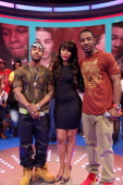 Omarion visits BET's '106 Park' with hosts Kimberly 'Paigion' Walker and Shorty Da Prince at BET Studios on February 14 2013 in New York City