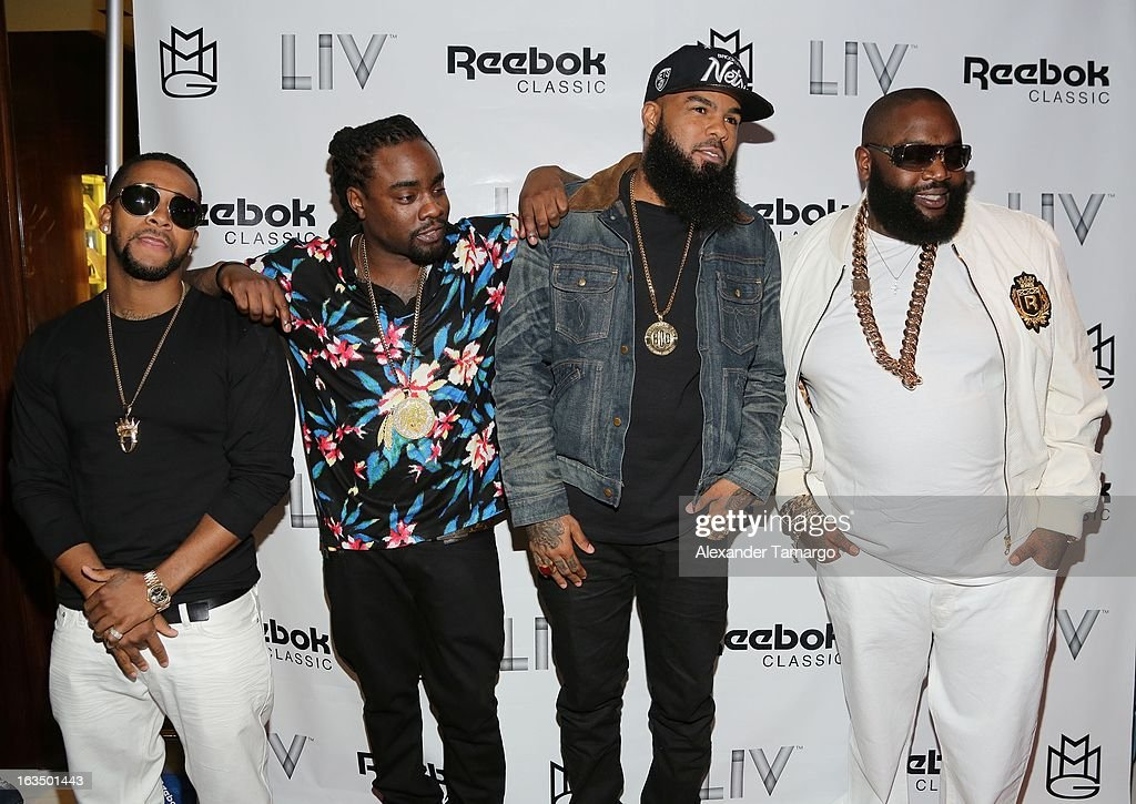 Omarion, Wale, Stally and Rick Ross arrive at the Reebok Classic white party hosted by Rick Ross at LIV nightclub at Fontainebleau Miami on March 10, 2013 in Miami Beach, Florida.