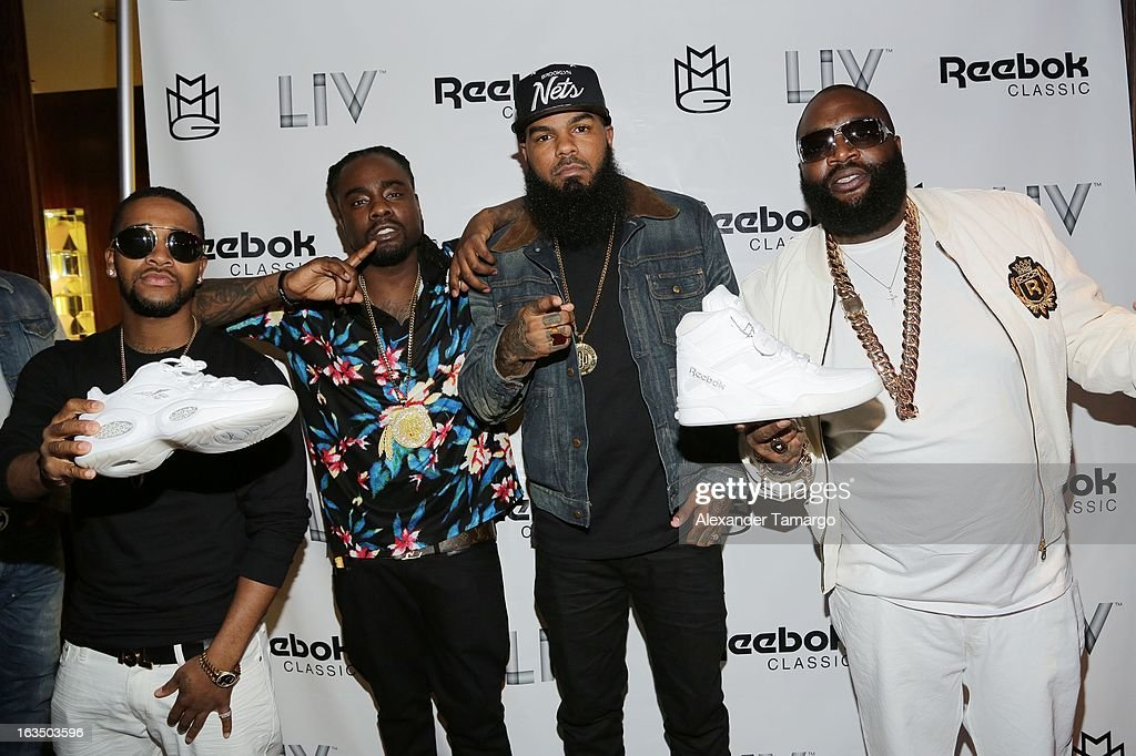 <a gi-track='captionPersonalityLinkClicked' href=/galleries/search?phrase=Omarion&family=editorial&specificpeople=203120 ng-click='$event.stopPropagation()'>Omarion</a>, <a gi-track='captionPersonalityLinkClicked' href=/galleries/search?phrase=Wale+-+Rapper&family=editorial&specificpeople=8770277 ng-click='$event.stopPropagation()'>Wale</a>, Stally and Rick Ross arrive at the Reebok Classic white party hosted by Rick Ross at LIV nightclub at Fontainebleau Miami on March 10, 2013 in Miami Beach, Florida.