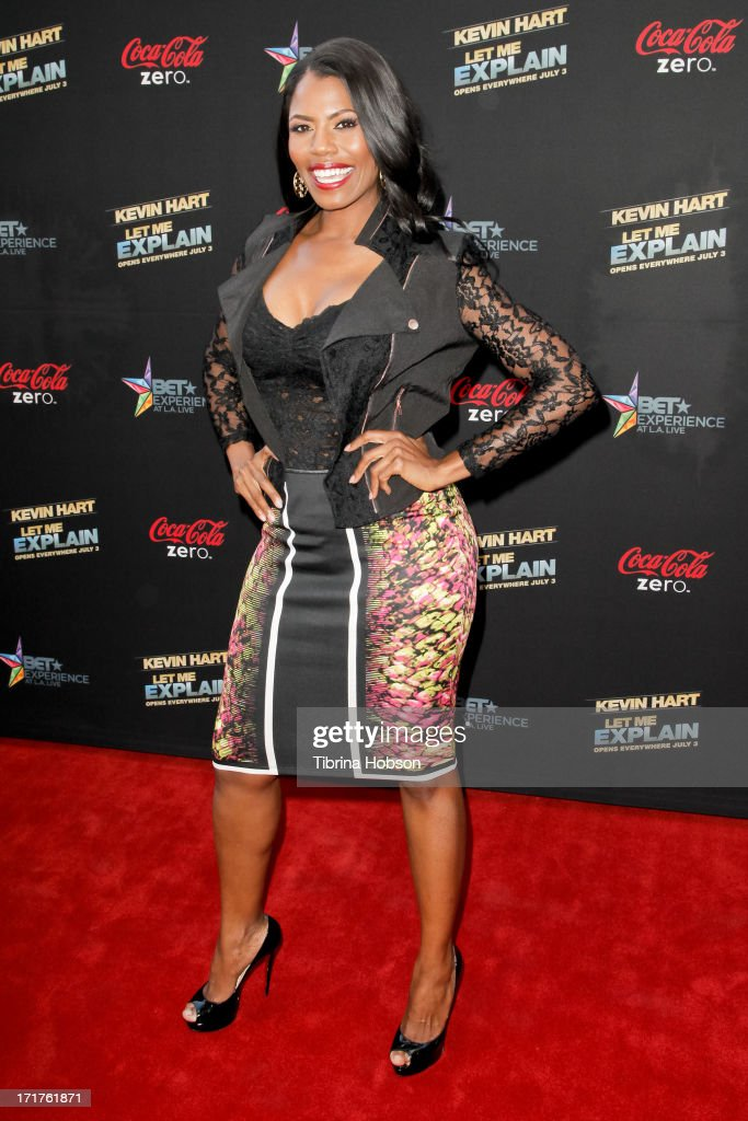 Omarosa Manigault attends the 'Kevin Hart Let Me Explain' Los Angeles premiere at Regal Cinemas LA Live on June 27 2013 in Los Angeles California
