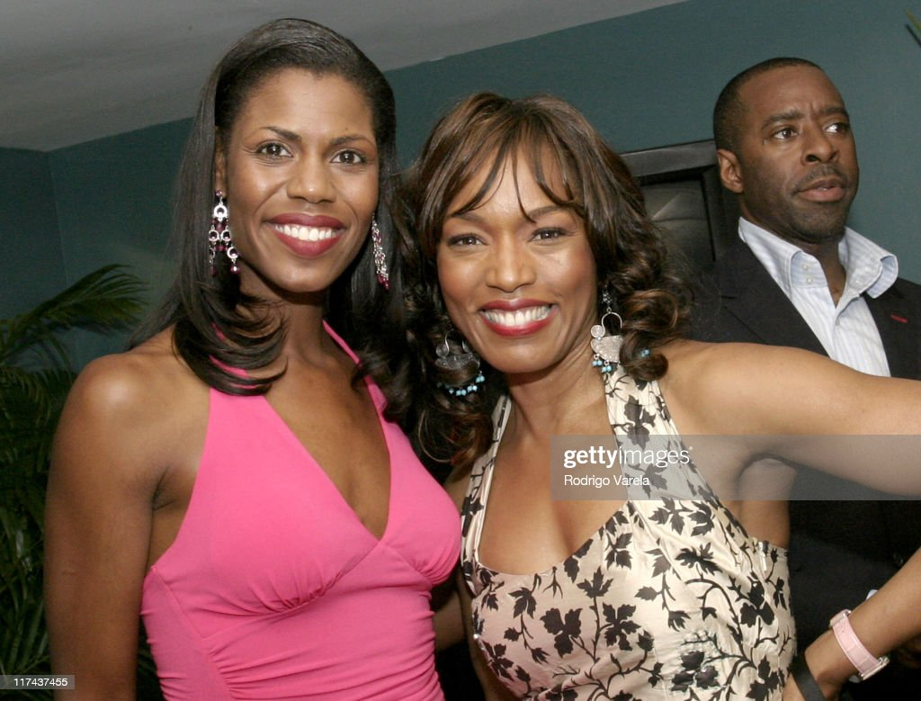 Omarosa ManigaultStallworth and Angela Bassett during 2004 American Black Film Festival Film Life Movie Awards Backstage at Jackie Gleason Theatre in...