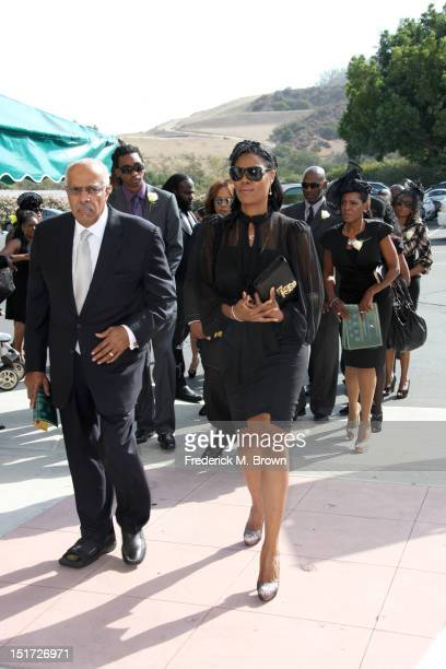 Omarosa ManigaultStallworth and family attend Michael Clarke Duncan's Memorial Service at Forest Lawn Cemetery on September 10 2012 in Los Angeles...