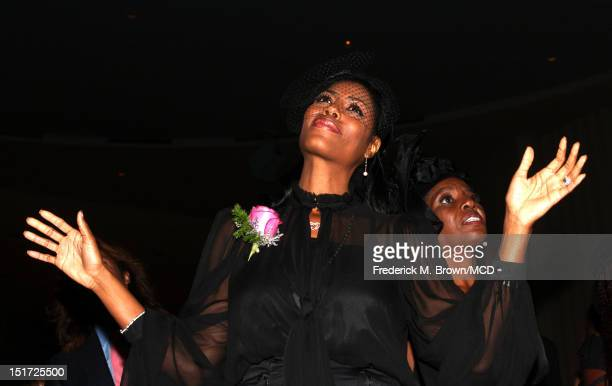 Omarosa ManigaultStallworth attends Michael Clarke Duncan's Memorial Service at Forest Lawn Cemetery on September 10 2012 in Los Angeles California