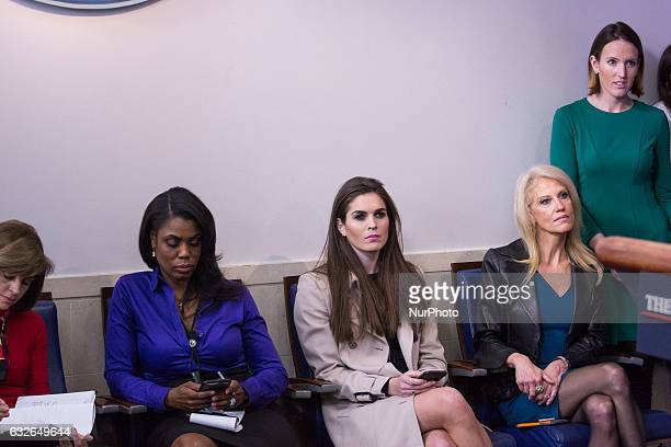 OmarosaKellyanne ConwayHope Hicks during the daily press briefing in the James Brady Press Briefing Room at the White House January 24 2017 in...